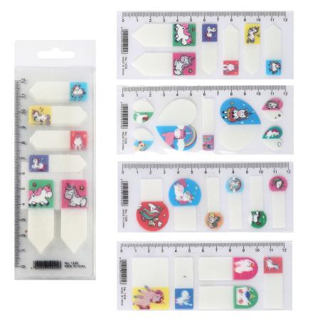 Закладки клейкие пластиковые 5-7цв*7л КОКОС Unicorn 211468 ассорти 4 вида