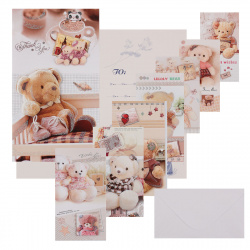 Открытка 120*215 (евро) Медвежонок с конвертом выб лак блест КОКОС  Y228/A2-(01-08) ассорти 8 видов