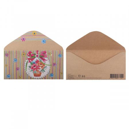 Открытка-конверт для денег 85*165мм, тиснение фольгой, текст Мир открыток 2-23-012А