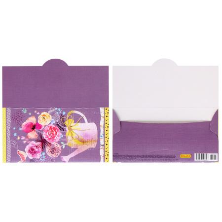 Открытка-конверт для денег 85*165мм, ламинация матовая, тиснение фактурное Без названия Лейка цветов Миленд 1-20-0963