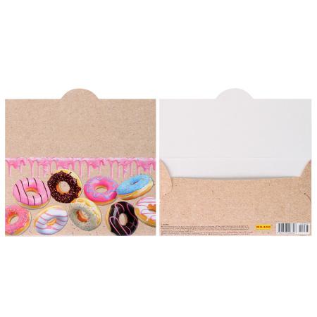 Открытка-конверт для денег 85*165мм, ламинация матовая, тиснение фактурное Без названия Пончики Миленд 1-20-0967