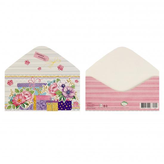 Открытка-конверт для денег 85*165мм, лакирование выборочное, блестки Без названия Мир открыток 2-16-2006А