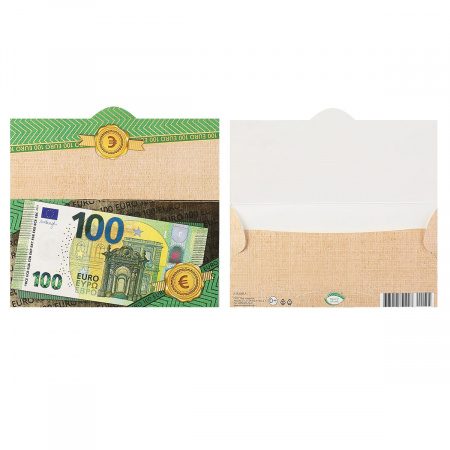 Открытка-конверт для денег 85*165 100 евро тисн фольг Мир открыток 2-17-1055