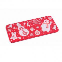 Открытка-конверт для денег 76*166 Снеговик и мишка металл Феникс-Презент 78124