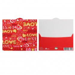 Открытка-конверт для денег 85*165 Валентинки тисн фольг Мир открыток 2-17-14006А