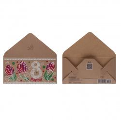 Открытка-конверт для денег 85*170 8 Марта! крафт пластизоль с блест Русский дизайн 39501