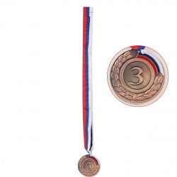 Медаль d-5см 3 место цвет бронза с лентой триколор КОКОС 180496/Y540_1/3
