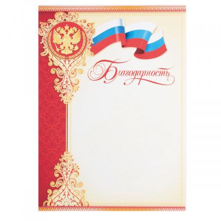 Благодарность с Рос симв А4 мелов бумага Мир открыток 9-19-017