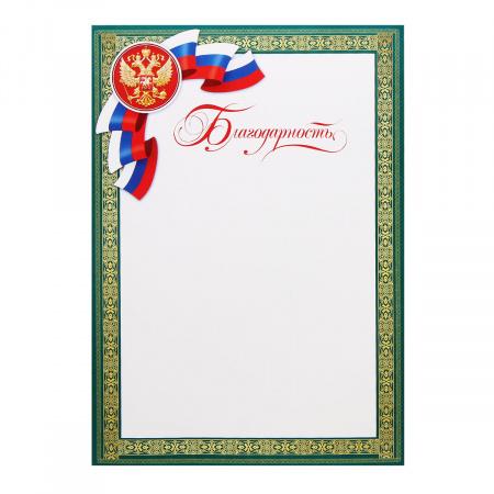 Благодарность с Рос симв символика государственная, А4 (210*297мм) Мир открыток 9-02-783А