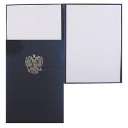 Папка адресная с российским орлом А4 балакрон шелк Имидж 4002-104 син