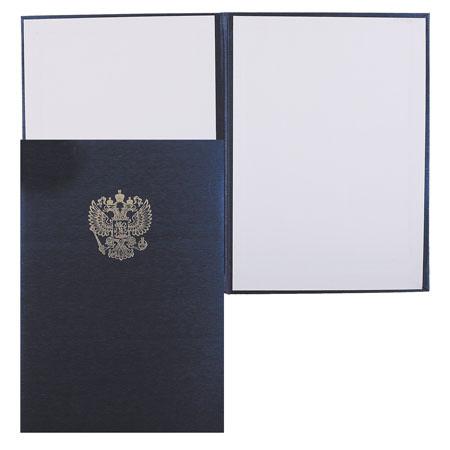 Папка адресная фольгой, А4, балакрон, фактура шелк, цвет синий с российским орлом Имидж 4002-104