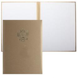 Папка адресная фольгой, А4, балакрон, фактура шелк, цвет золото с российским орлом Имидж 4002-101