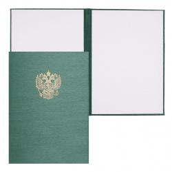 Папка адресная фольгой, А4, балакрон, фактура шелк, цвет зеленый с российским орлом Имидж 4002-105