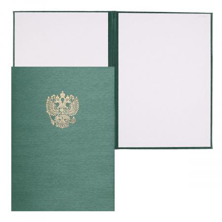 Папка адресная с российским орлом А4 балакрон шелк Имидж 4002-105 зел