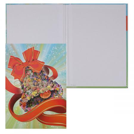 Папка адресная фольгой, А4, ламинированный картон, цвет рисунок Колокольчик из цветов Имидж ПЛ4019-5101