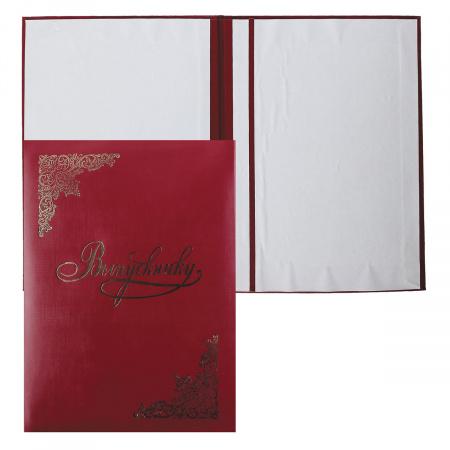 Папка адресная фольгой, А4, бумвинил, цвет бордовый Выпускнику Имидж 4019