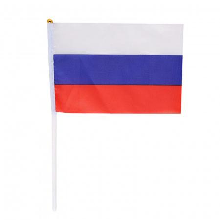 Флаг России, 140*200мм, полиэфир, для помещений и улицы, флагшток KLERK 183168