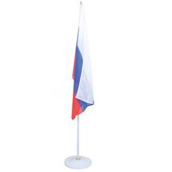 Флаг России мокрый шелк 0,85*1,3м с флагштоком 2,3м на подставке металлической для помещений