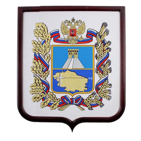 Герб Ставропольского края мокрый шелк 0,45*0,55м рамка бук