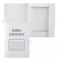 Папка с завязкой А4, плотность 360г/кв.м, картон, цвет белый 66583