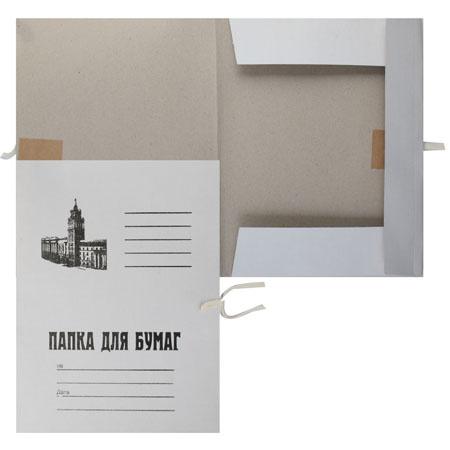 Папка с завязкой   А4, толщина картона 0,36-0,38мм, плотность 260г/кв.м., немелованный картон, цвет белый КиБ