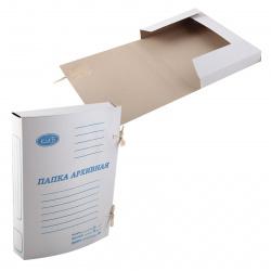 Папки с завязками картонные А4, толщина картона 0,6мм, плотность 360г/кв.м, картон, цвет белый КиБ