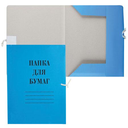 Папка с завязкой 0,6мм 300-320г/м мелованный L-03-626/PZ320Mblue/816434 синяя