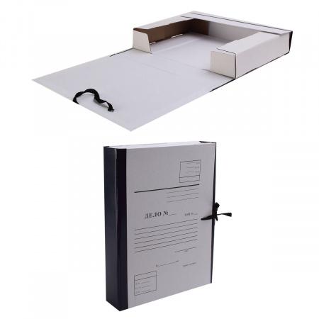Короб архивный Дело 320*240мм, картон с бумвиниловым покрытием, на завязках, цвет синий Имидж КСД4050-203