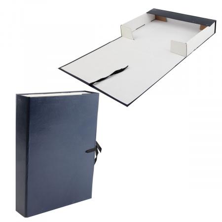 Короб архивный 50мм картон бумвинил с завязками КСБ4050-203 синий