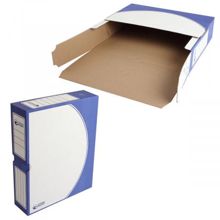 Короб архивный 320*260мм, гофрокартон, клапан, цвет синий Офисстандарт 203