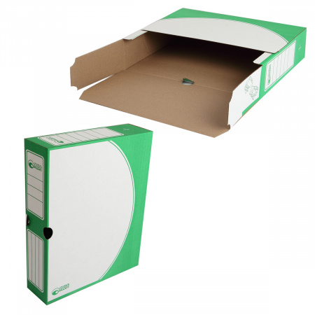 Короб архивный 320*260мм, гофрокартон, клапан, цвет зеленый Офисстандарт 203