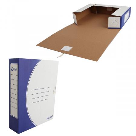 Короб архивный 320*250мм, гофрокартон, на завязках, цвет синий Офисстандарт 1456