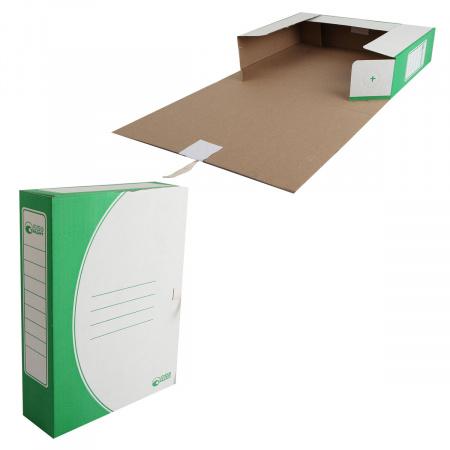 Короб архивный 320*250мм, гофрокартон, на завязках, цвет зеленый Офисстандарт 1456