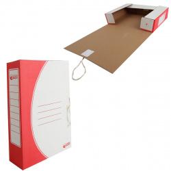 Короб архивный 75мм гофрокартон с завязками 1456 красный
