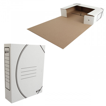 Короб архивный 320*250мм, гофрокартон, на резинке, цвет белый Офисстандарт 1456/1
