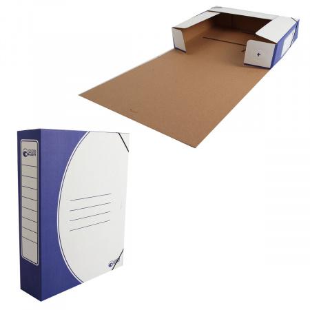 Короб архивный 75мм гофрокартон на резинках 1456/1 синий