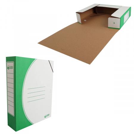Короб архивный 75мм гофрокартон на резинках 1456/1 зеленый