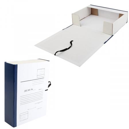 Короб архивный 80мм картон бумвинил на завязках Дело КСД4080-203 синий