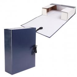 Короб архивный 80мм картон бумвинил на завязках КСБ4080-203 синий