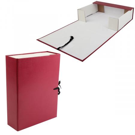 Короб архивный 80мм картон бумвинил на завязках КСБ4080-209 бордо