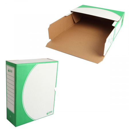 Короб архивный 320*260мм, гофрокартон, клапан, цвет зеленый Офисстандарт 1800