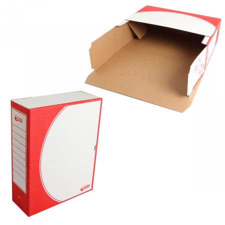 Короб архивный 320*260мм, гофрокартон, клапан, цвет красный Офисстандарт 1800