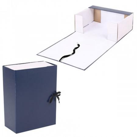 Короб архивный 330*240мм, картон с бумвиниловым покрытием, на завязках, цвет синий Имидж КСБ4120-203