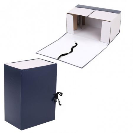 Короб архивный 150мм картон бумвинил с завязками КСБ4150-203 синий