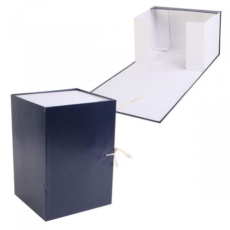 Короб архивный 200мм картон бумвинил с завязками КСБ4200-203 синий