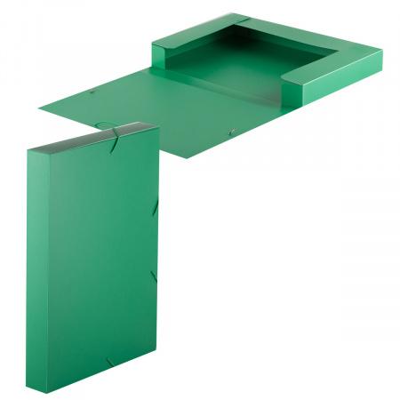 Короб архивный 40мм пластик с резинками 816208 зеленый