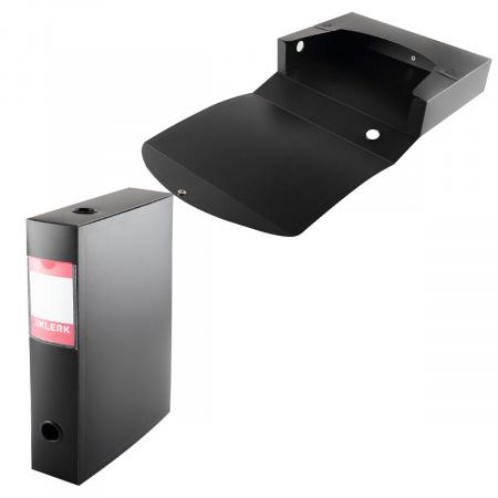 Короб архивный 330*245мм, пластик, на кнопке, цвет черный KLERK 190990
