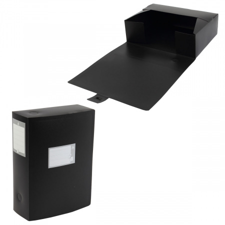 Короб архивный 330*245мм, пластик, вырубная застежка, цвет черный Бюрократ 4690207123112