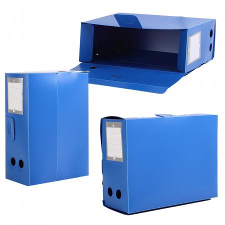 Короб архивный 330*245мм, пластик, вырубная застежка, цвет синий Бюрократ 4690207123143