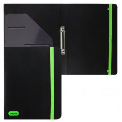 Папка с 2 кольцами с карм 35мм d-25мм 0,65мм deVENTE Monochrome на резинке 3081006 черная с неоновым зеленым